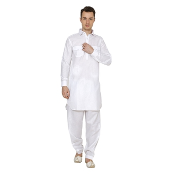 White Plain Faux Cotton Pathani Suits