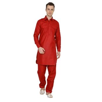 Red Plain Faux Cotton Pathani Suits