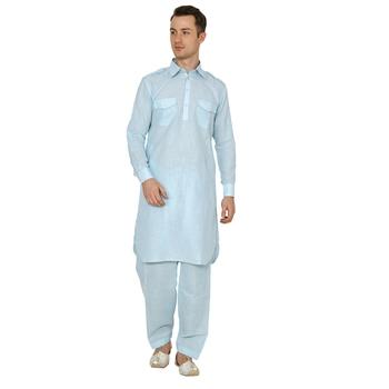 Blue Plain Faux Cotton Pathani Suits