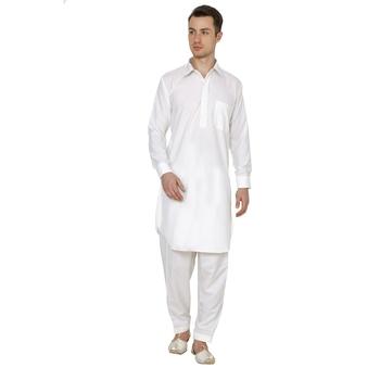 White Plain Faux Cotton Pathani Suits