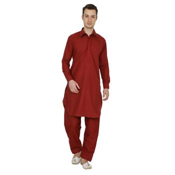 Maroon Plain Faux Cotton Pathani Suits
