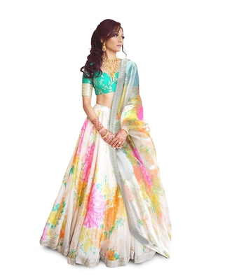 Colorful Floral Print Embroidered Organza Wedding Designer Lehenga Choli Set