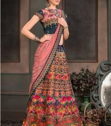 Blue digital print silk semi stitched lehenga with dupatta