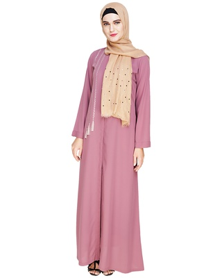 Onion-pink embroidered polyester abaya