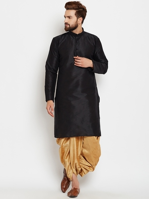 Black plain silk blend dhoti-kurta
