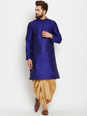 Blue plain silk blend dhoti-kurta