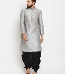 Silver Plain Silk Blend Dhoti Kurta