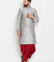 Buy Silver plain silk blend dhoti-kurta dhoti-kurtum online