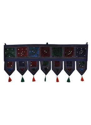 Lal Haveli Traditional Design Embroidery Decorative Cotton Door Hanging Toran 39 X 16 inches