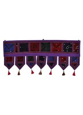 Lal Haveli Room Decorative Embroidered Design Cotton Mirror Work Door Hanging 39 X 16 inches