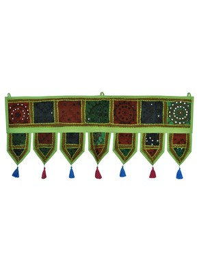 Lal Haveli Handmade Embroidery Work Design Cotton Door Hanging Toran 39 X 16 inches