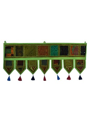 Lal Haveli Handmade Embroidery Work Design Decorative Cotton Door Hanging Toran 39 X 16 inches
