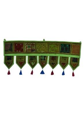 Lal Haveli Elegant Embroidered Work Design Cotton Door Hanging Toran Tapestry 39 X 16 inches