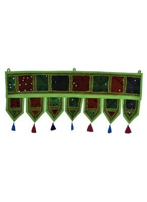 Lal Haveli Hand Embroidered Work Design Mirror Work Toran Hanging 39 X 16 inches
