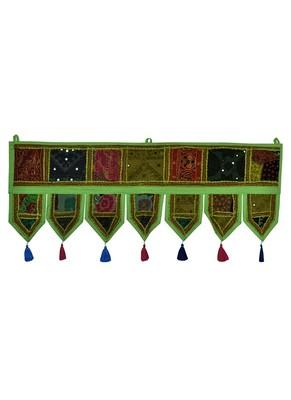 Lal Haveli Home Decorative Embroidered Mirror Work Design Door Toran 39 X 16 inches