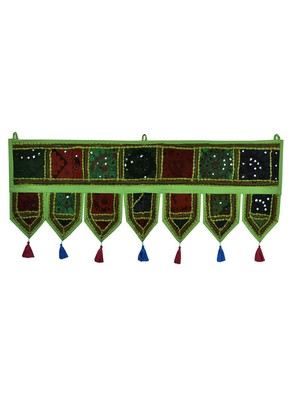 Lal Haveli Room Handmade Embroidered Mirror Work Decorative Door Hanging Tapestry 39 X 16 inches
