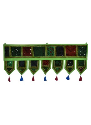 Lal Haveli Embroidery & Mirror Work Design Cotton Indian Toran 39 X 16 inches