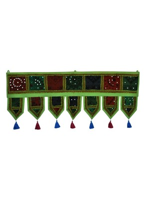 Lal Haveli Vintage Mirror Work Cotton Door Hanging Gift Item 39 X 16 inches