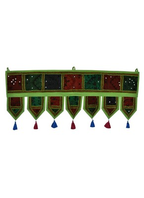 Lal Haveli Decorative Handmade Embroidered Mirror Work Design Door Topper Tapestry 39 X 16 inches