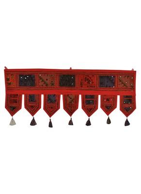 Lal Haveli Decorative Embroidery Work Design Mirror Work Cotton Door Hanging 39 X 16 inches