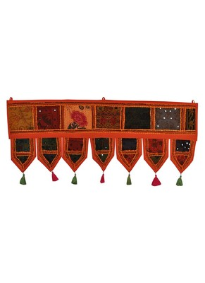 Lal Haveli Rajasthani Mirror Embroidery Work Design Window Valance 39 X 16 inches