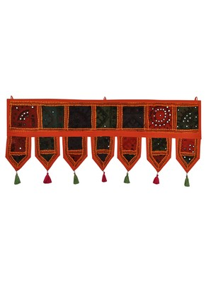Lal Haveli Jaipuri Handmade Embroidery Work Design Hanging Decoration Tapestries 39 X 16 inches