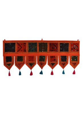 Lal Haveli Traditional Design Handmade Decorative Embroidered Door Toran Tapestry 39 X 16 inches
