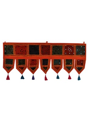 Lal Haveli Ethnic Handmade Embroidered Design Door Valance Tapestries 39 X 16 inches