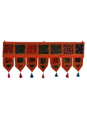 Lal Haveli Indian Embroidered Decorative Cotton Door Valance Tapestries 39 X 16 inches
