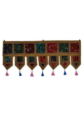 Lal Haveli Indian Traditional Design Embroidered Door Hanging Toran 39 X 16 inches