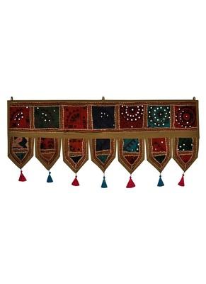Lal Haveli Vintage Handmade Embroidered Design Cotton Door Valance Toran 39 X 16 inches