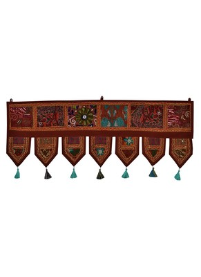 Lal Haveli Embroidery Mirror Work Design Door Hangings Decoration 39 X 16 inches