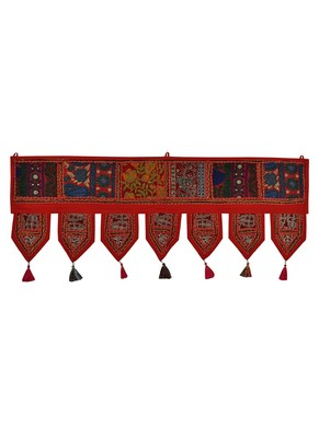 Lal Haveli Handcrafted Embroidery & Hand Mirror Work Design Cotton Indian Toran 39 X 16 inches