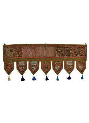 Lal Haveli Elephant Embroidered Design Decorative Door Hanging 39 X 16 inches
