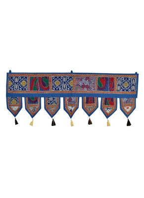 Lal Haveli Traditional Handmade Embroidered Design Decorative Wall Tapestry 39 X 16 inches