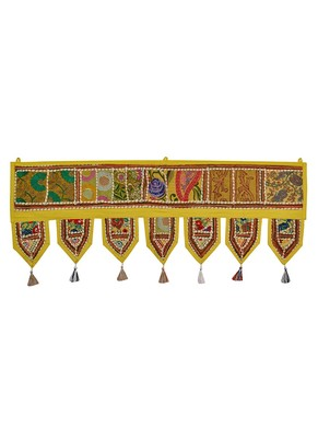 Lal Haveli Mirror Embroidered Tapestry Decorative Cotton Door Toran 39 X 16 inches