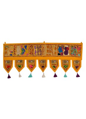 Lal Haveli Embroidery & Mirror Work Cotton Window Valance 39 X 16 inches