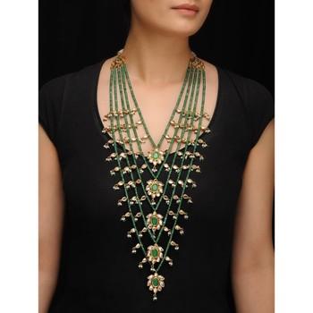 Green Jade And Kundan Sabyasachi Panchlada Raani Haar Necklace