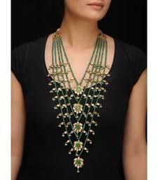 Green Jade and Kundan Panchlada raani haar Necklace Necklace