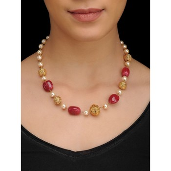 Red Natural stones and Pearls Necklace