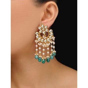 Kundan And Pearl Tassels Chandbaali