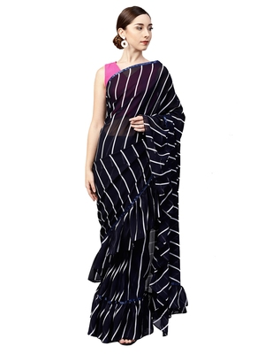 Inddus Navy Blue Georgette Stripe Ruffle Saree With  Blouse Piece