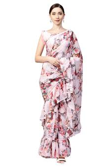 5fb2112ddc54e7 Inddus Pink Chiffon Floral Printed Ruffle Saree with Blouse Piece
