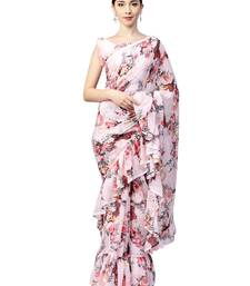 Inddus Pink Chiffon Floral Printed Ruffle Saree with Blouse Piece