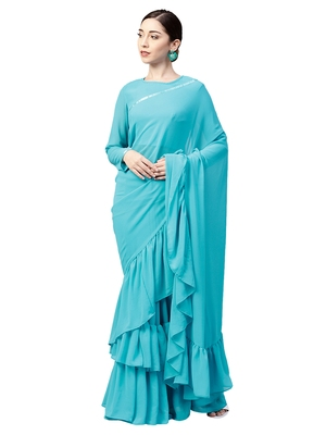 Inddus Sky Blue Georgette Solid Ruffle Saree With Blouse Piece