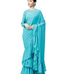 Buy Inddus Sky Blue Georgette Solid Ruffle Saree with Blouse Piece party-wear-saree online