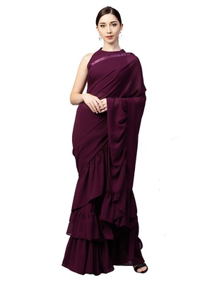Inddus Burgundy Georgette Solid Ruffle Saree with Blouse Piece