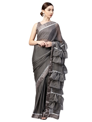 Inddus Grey Viscose Rayon Solid Ruffle Saree with Blouse Piece