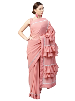 Inddus Light Pink Georgette Solid Ruffle Saree with Blouse Piece
