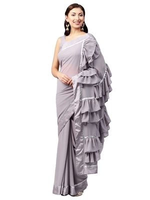 fcccda6872aa3f Inddus Lavender Georgette Solid Ruffle Saree with Blouse Piece - Inddus -  2766917